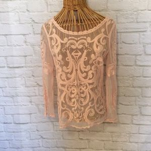 Sheer embroidered long sleeve shirt EXPRESS XS